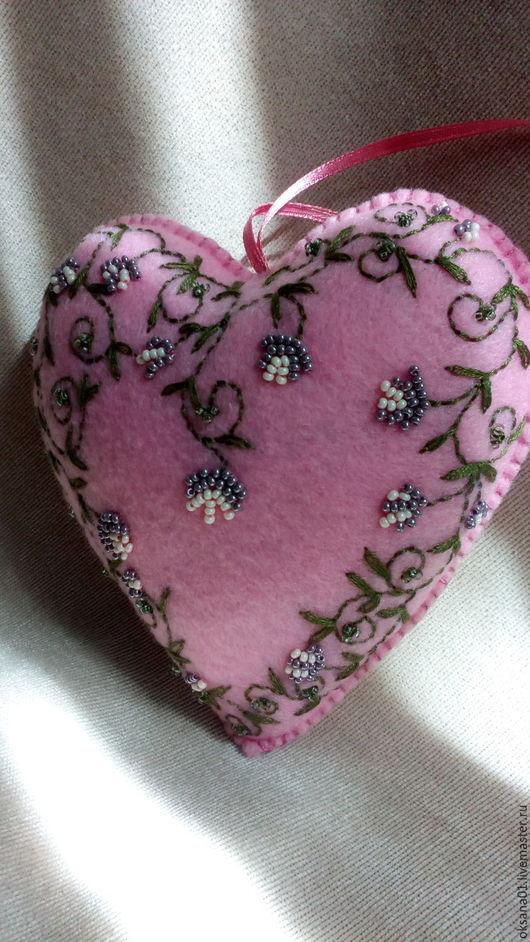 Подвески ручной работы. Ярмарка Мастеров - ручная работа. Купить Фетровое сердце. Handmade. Интерьерное украшение, сердце, розовый
