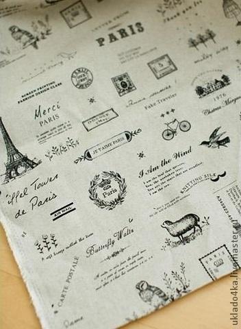"""Шитье ручной работы. Ярмарка Мастеров - ручная работа. Купить Ткань - лен """"Лондон - Париж"""". Handmade. Чёрно-белый"""