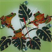 Для дома и интерьера ручной работы. Ярмарка Мастеров - ручная работа Часы Тропические лягушки. Handmade.