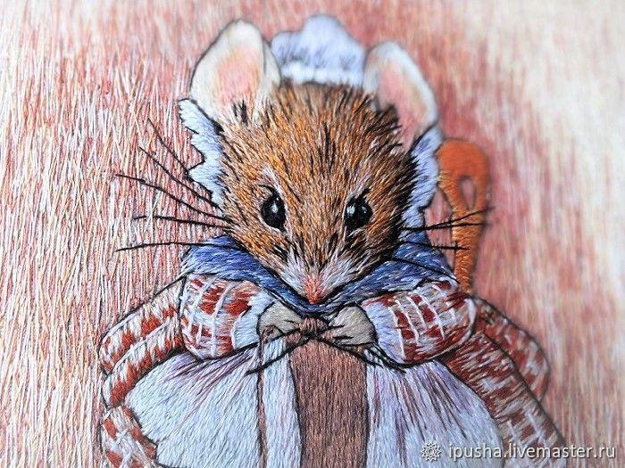 """Вышивка гладью, картина """"Мышка вяжет носок.."""",, Pictures, Novorossiysk,  Фото №1"""
