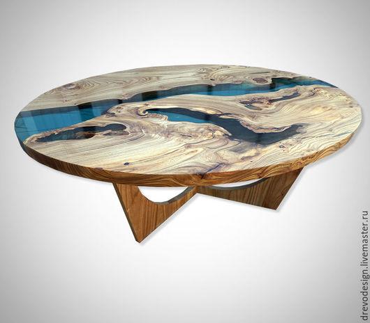 """Мебель ручной работы. Ярмарка Мастеров - ручная работа. Купить Журнальный столик """"река"""" - эксклюзив!. Handmade. Синий, столик журнальный"""