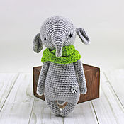 Куклы и игрушки handmade. Livemaster - original item Small elephant with a green handmade scarf. Handmade.