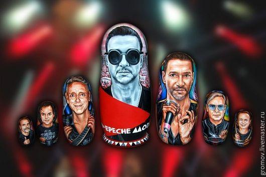 Портреты на матрёшках, группа Depeche Mode. На заказ, художник Юрий Громов. Ручная работа. Заказчик и владелец  On4Off & Silvana