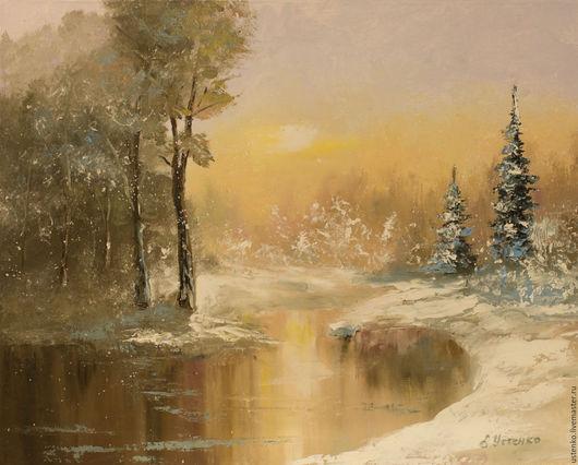 Пейзаж ручной работы. Ярмарка Мастеров - ручная работа. Купить Картина маслом Зимний пейзаж. Handmade. Бежевый, зимний пейзах