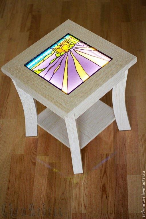 Мебель ручной работы. Ярмарка Мастеров - ручная работа. Купить Светящийся журнальный кофейный столик Прованс мебель с витражом. Handmade.