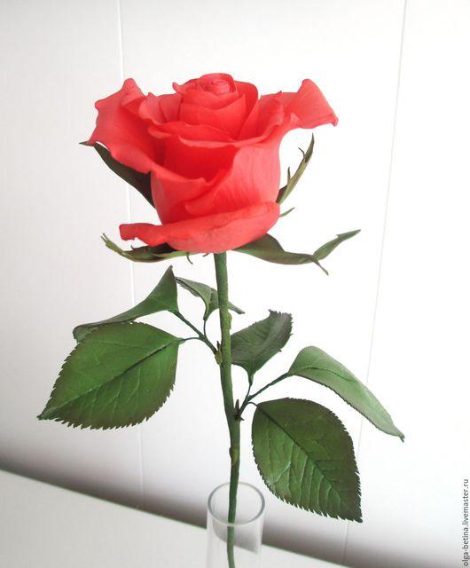 """Цветы ручной работы. Ярмарка Мастеров - ручная работа. Купить Роза """"Кармэн"""". Handmade. Ярко-красный, цветы ручной работы"""