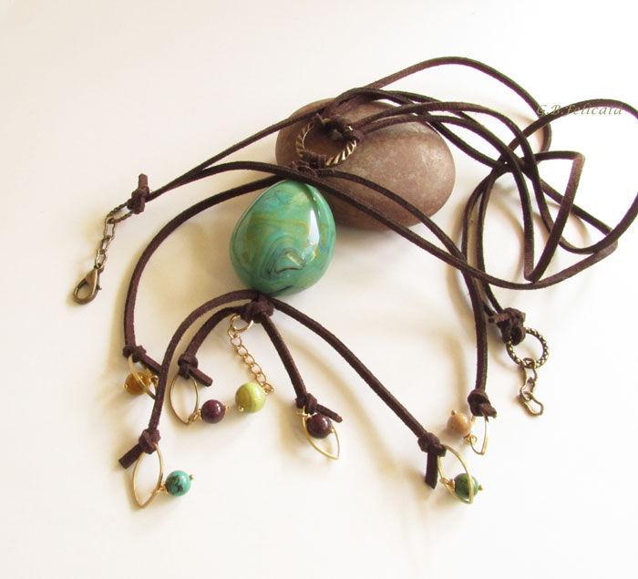 """Кулоны, подвески ручной работы. Ярмарка Мастеров - ручная работа. Купить Подвеска """"Зеленая бухта"""". Handmade. Зеленый, подвеска на шнурах"""