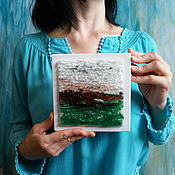 """Картины и панно ручной работы. Ярмарка Мастеров - ручная работа Панно из стекла """"Северное море. Зелень"""", 12х12 см, фьюзинг. Handmade."""