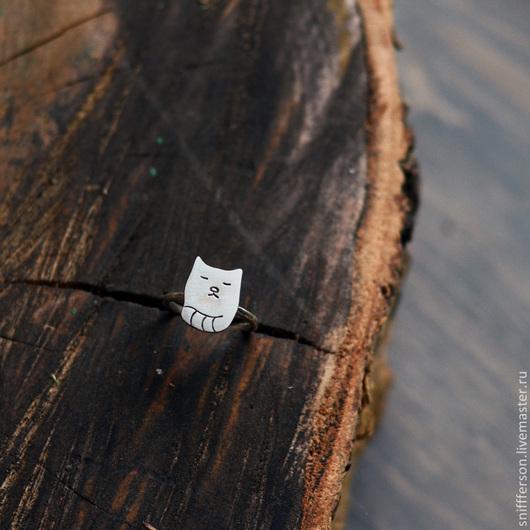 Кольца ручной работы. Ярмарка Мастеров - ручная работа. Купить серебряное кольцо кот-кот. Handmade. Серебряный, домашние животные