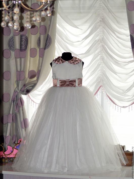 Одежда для девочек, ручной работы. Ярмарка Мастеров - ручная работа. Купить Платье Милана. Handmade. Белый, нарядное платье, атлас