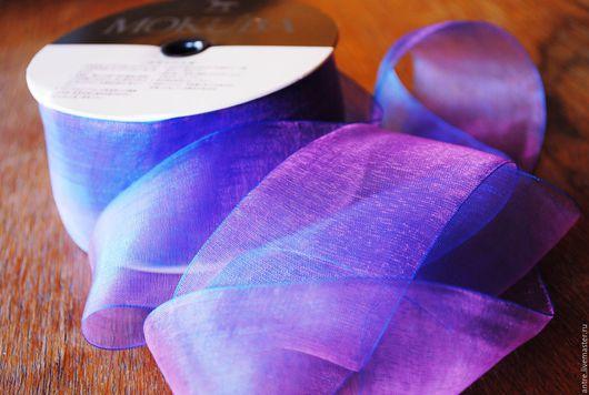 """Шитье ручной работы. Ярмарка Мастеров - ручная работа. Купить Японская органза хамелеон """"Сине-Фиолетовая"""" МАКУБА.. Handmade. Лента"""