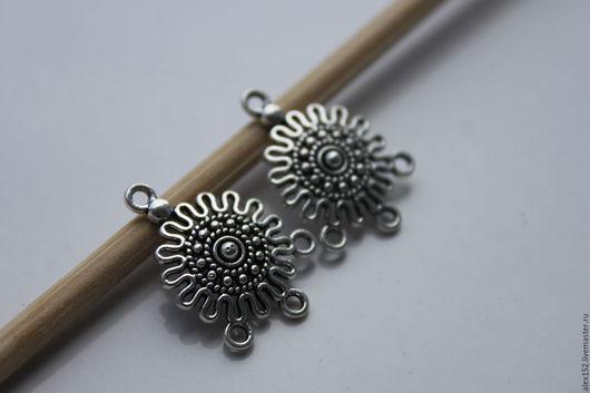 Для украшений ручной работы. Ярмарка Мастеров - ручная работа. Купить Коннектор для серег, браслетов 26 мм тибетское серебро. Handmade.