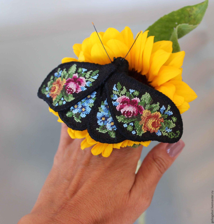Брошь бабочка вышивка 30