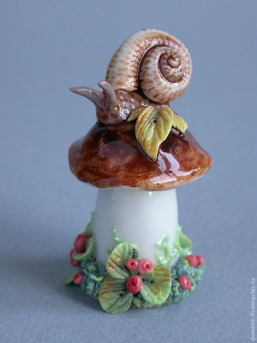 """Шитье ручной работы. Ярмарка Мастеров - ручная работа. Купить напёрсток """"Улитка на грибке"""". Handmade. Наперсток, змейка, ручная лепка"""