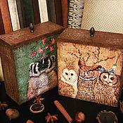 Для дома и интерьера ручной работы. Ярмарка Мастеров - ручная работа Лесные зверики, набор коробов, декупаж. Handmade.