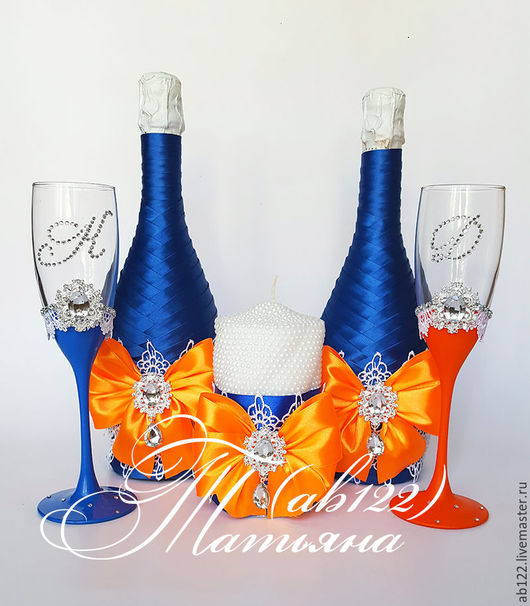 Свадебные аксессуары ручной работы. Ярмарка Мастеров - ручная работа. Купить Яркая оранжево-синяя свадьба набор аксессуаров. Handmade.