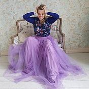 Одежда ручной работы. Ярмарка Мастеров - ручная работа Цветочный свитшот и длинная юбка фатин. Handmade.