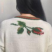 Одежда handmade. Livemaster - original item Women`s rose knitted jumper, wool, ecru, tea rose. Handmade.