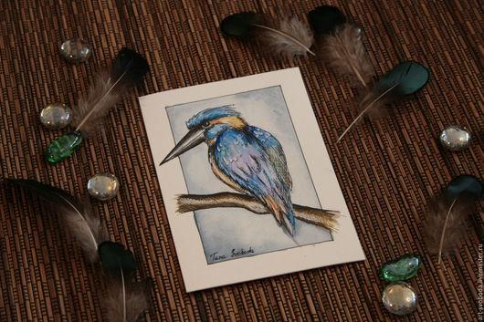 """Открытки на все случаи жизни ручной работы. Ярмарка Мастеров - ручная работа. Купить Открытка """"Зимородок обыкновенный"""". Handmade. карточка, голубой"""
