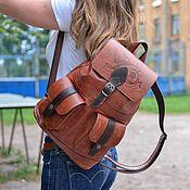 Сумки и аксессуары handmade. Livemaster - original item Backpack leather womens brown Dahlia Mod R12p-602. Handmade.