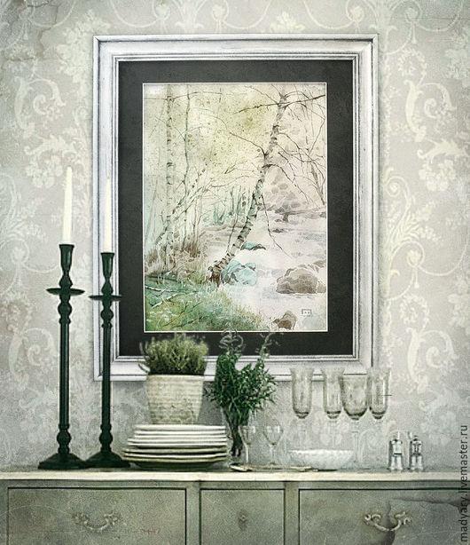 Пейзаж ручной работы. Ярмарка Мастеров - ручная работа. Купить Картина акварелью Березки (весенний пейзаж, светло-зеленый, мятный). Handmade.