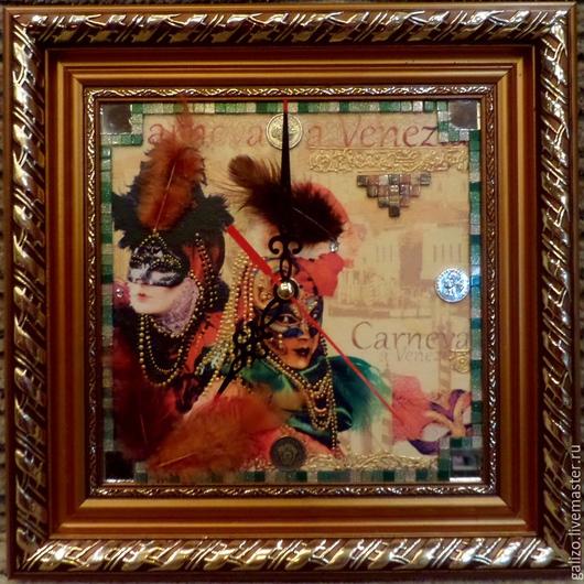 Настенные арт-часы Карнавал в Венеции. Размер 30 на 30 см. Художник Галецкая О.Lizza. Ярмарка Мастеров.
