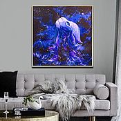 Картины и панно handmade. Livemaster - original item Painting on a black background with a cat Abstract space. Handmade.