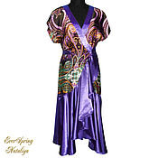 Одежда handmade. Livemaster - original item Kimono dressing gown with flounce pattern with Paisley.. Handmade.