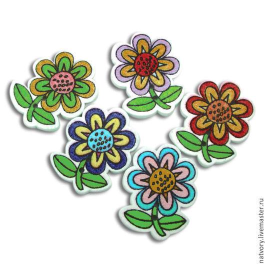 """Шитье ручной работы. Ярмарка Мастеров - ручная работа. Купить Пуговицы деревянные цветочки """"Подсолнух"""". Handmade. Разноцветный, пуговицы, пуговица"""