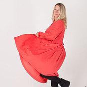 Одежда ручной работы. Ярмарка Мастеров - ручная работа Милое платье из вискозы коралл SARTA-011c. Handmade.