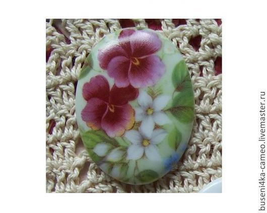 Для украшений ручной работы. Ярмарка Мастеров - ручная работа. Купить Кабошон Цветы №4 30х40мм, фарфор. Handmade. Камея