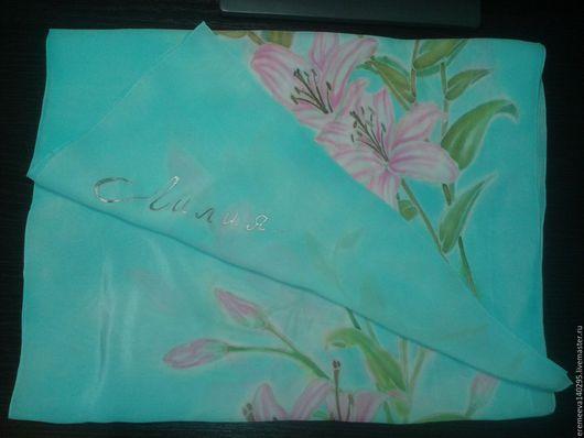 """Цветы ручной работы. Ярмарка Мастеров - ручная работа. Купить Шарфик из натурального шелка """"Лилии"""". Handmade. Бирюзовый, подарок женщине"""