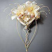 Украшения ручной работы. Ярмарка Мастеров - ручная работа Необычный свадебный гребень, цветочный нежный, шампань, золочение. Handmade.