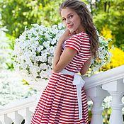 Платья ручной работы. Ярмарка Мастеров - ручная работа Платье в красную полоску с кружевом. Handmade.
