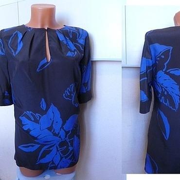 Одежда ручной работы. Ярмарка Мастеров - ручная работа Блузка 52р.,натуральный шелк синий цветок. Handmade.