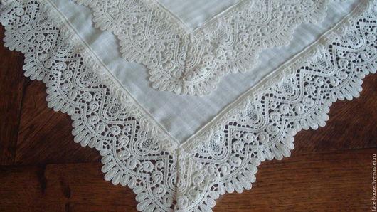 Текстиль, ковры ручной работы. Ярмарка Мастеров - ручная работа. Купить Скатерть Морозная  льняная. Handmade. Бежевый, стиль прованс