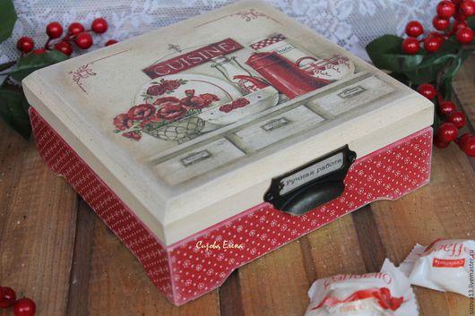"""Кухня ручной работы. Ярмарка Мастеров - ручная работа. Купить Шкатулка """"Чайная"""". Handmade. Бордовый, шкатулка деревянная, подарок девушке"""