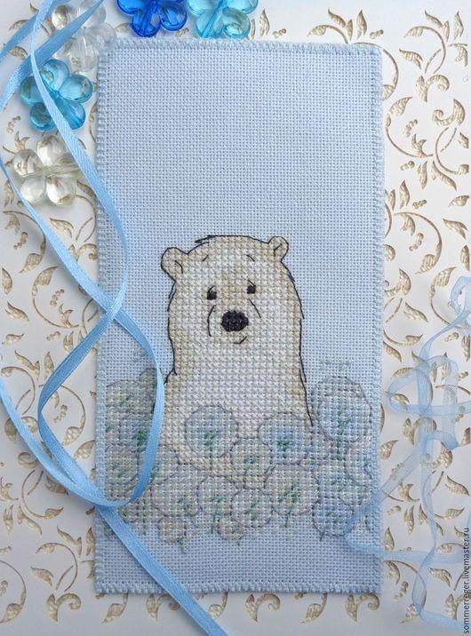 Закладки для книг ручной работы. Ярмарка Мастеров - ручная работа. Купить голубая Закладка Сказка о белом медвежонке с вышивкой из ткани. Handmade.