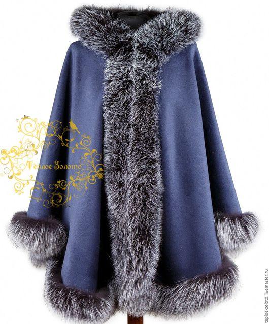 Пончо ручной работы. Ярмарка Мастеров - ручная работа. Купить Пончо из шерсти с капюшоном, арт.1176. Handmade. Тёмно-синий
