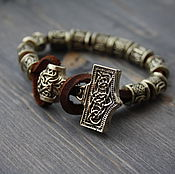 Украшения handmade. Livemaster - original item Bracelet with the runes ,Thor`s Hammer bracelet ,leather bracelet with axe. Handmade.