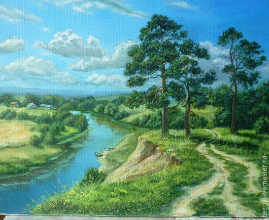 """Пейзаж ручной работы. Ярмарка Мастеров - ручная работа. Купить Картина """"Родные просторы"""". Handmade. Зеленый, река, пейзаж, облака"""
