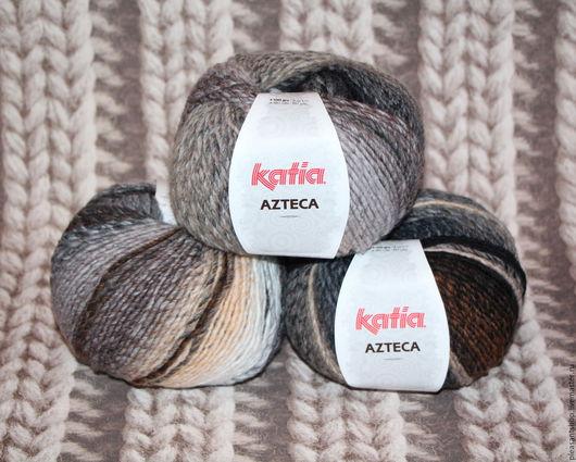 Вязание ручной работы. Ярмарка Мастеров - ручная работа. Купить Пряжа Katia Azteca 56. Handmade. Комбинированный, пряжа для спиц