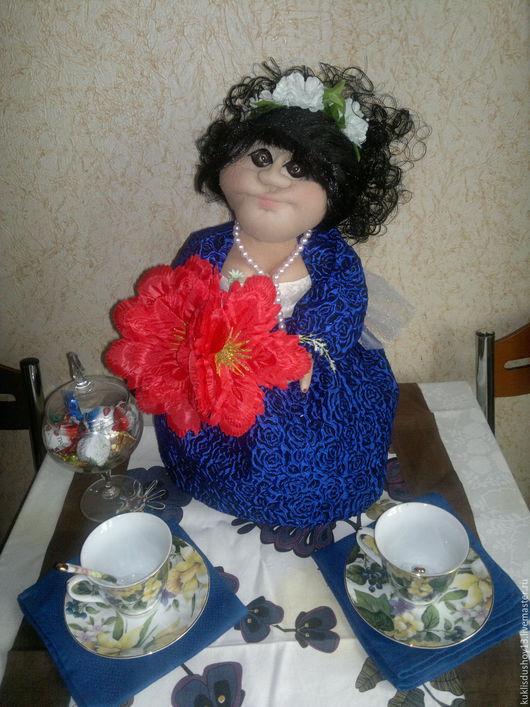 Кухня ручной работы. Ярмарка Мастеров - ручная работа. Купить Кукла на чайник  Душечка. Handmade. Тёмно-синий, душевный подарок