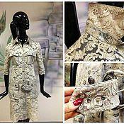 """Одежда ручной работы. Ярмарка Мастеров - ручная работа Платье-пальто """"Кружевное Сафари"""" из кружева Armani и натуральной кожи. Handmade."""