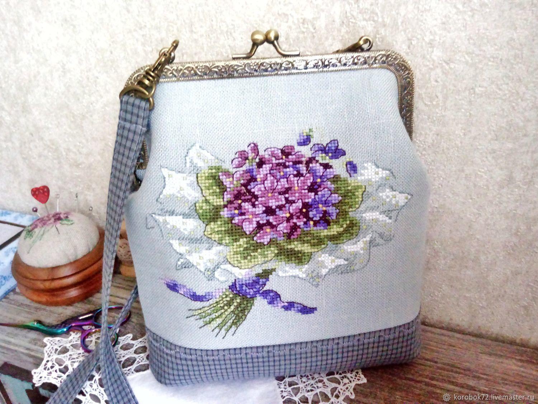 Handbag with clasp handmade Cross stitch Violets, Clasp Bag, St. Petersburg,  Фото №1