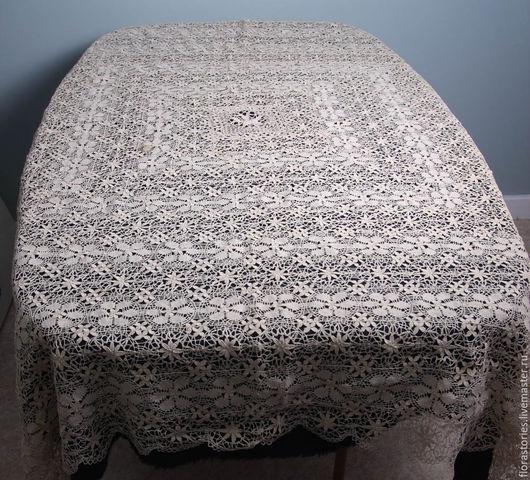 Винтажные предметы интерьера. Ярмарка Мастеров - ручная работа. Купить Старинная скатерть мальтийского кружева. Handmade. Белый, антикварный текстиль
