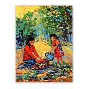 Картины и панно handmade. Livemaster - original item Painting Mother and Daughter in the Garden. Handmade.