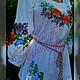 """Блузки ручной работы. Ярмарка Мастеров - ручная работа. Купить Вышиванка летняя """"Анютки"""". Handmade. Вышиванка, купить вышиванку, цветочный"""