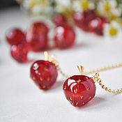 Украшения handmade. Livemaster - original item Strawberry earrings-gold-plated long chain earrings. Handmade.