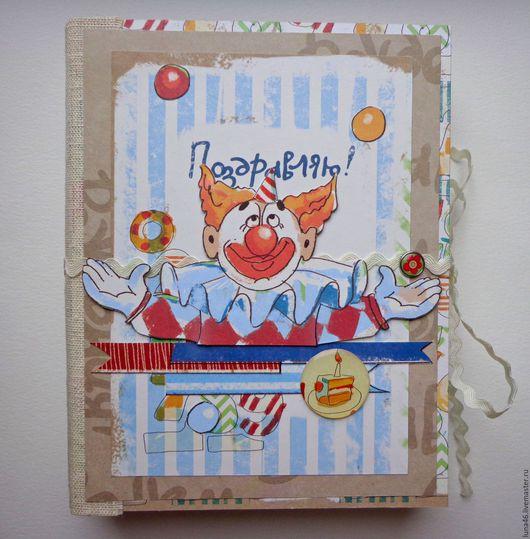 """Фотоальбомы ручной работы. Ярмарка Мастеров - ручная работа. Купить Детский альбом """"Клоуны"""". Handmade. Фотоальбом, альбом для мальчика, голубой"""